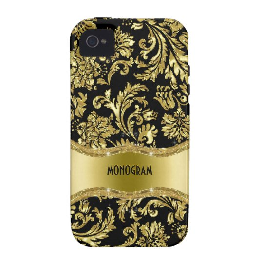 Black & Gold Metallic Floral Damasks-Customized iPhone 4/4S Cover