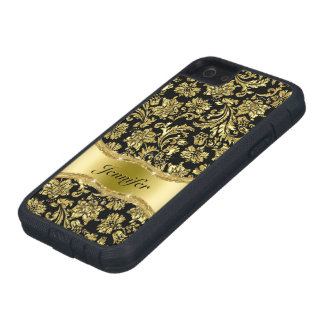 Black & Gold Metallic Floral Damasks-Customized iPhone SE/5/5s Case