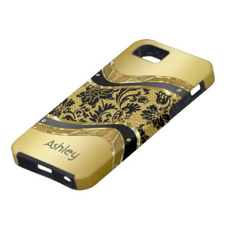 Black & Gold Metallic Look Floral Damasks iPhone 5 Covers