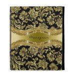Black & Gold Metallic Look Floral Damasks-Monogram iPad Cases