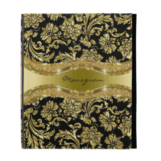 Black Gold Metallic Look Floral Damasks-Monogram iPad Cases