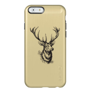 Black Gold Metallic Vintage Deer Antlers Design Incipio Feather Shine iPhone 6 Case