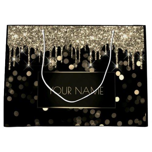 Black Gold Minimal Name Luxury Branding Drips Large Gift Bag
