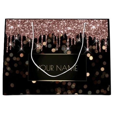 Black Gold Minimal Name Luxury Rose Drips Large Gift Bag