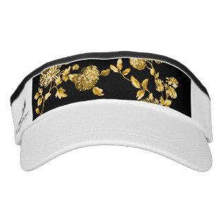 Black & Gold Modern Botanical Floral Toile Visor