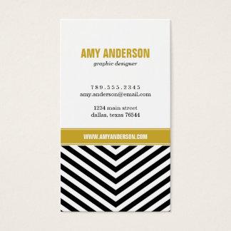 Black & Gold Modern Chevron Stripes Business Card