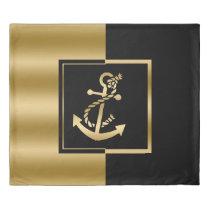Black & Gold Modern Design Nautical Boat Anchor Duvet Cover