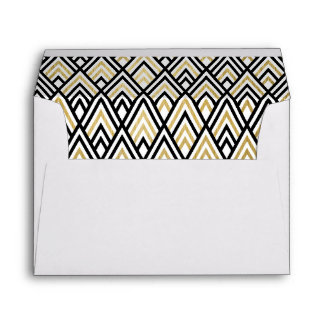 Black Gold Modern Geometric Pattern Lined Wedding Envelope