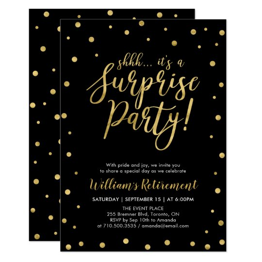 Black Gold Modern Surprise Retirement Party Invitation