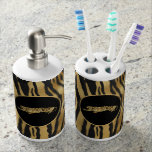 Black Gold Modern Toothbrush & Soap Dispenser Set