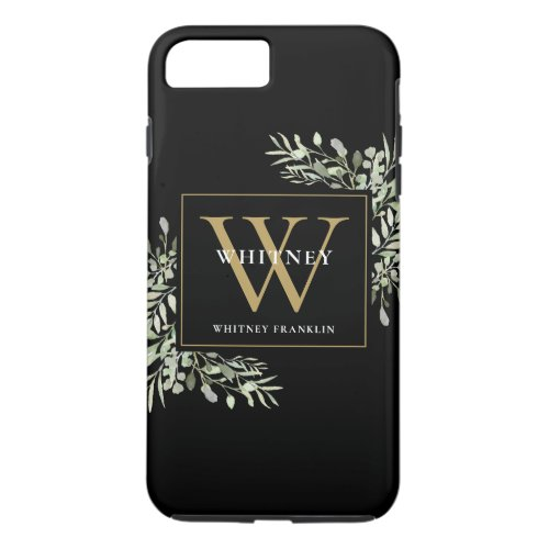 Black Gold Monogram Elegant Modern Greenery Phone Case