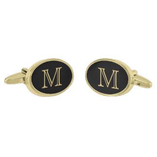 Black Gold Monogram Gold Cufflinks