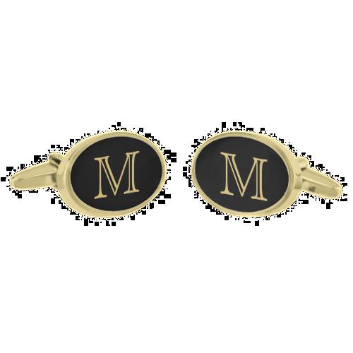 Black Gold Monogram Gold Finish Cufflinks