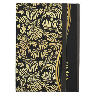 Black Gold Monogram iPad Folio Case For iPad Air