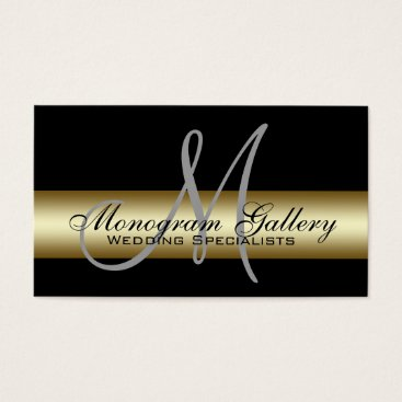 Professional Business Black Gold Monogram Printed Business Card