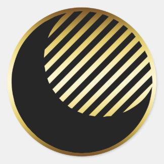 BLACK & GOLD MOON CLASSIC ROUND STICKER