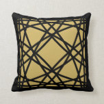 Black Gold Motif Graphic Design III Throw Pillow