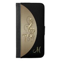 Black Gold Music Clef Heart Monogram Wallet Case