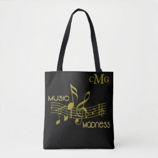 Black Gold Music Lovers Madness Monogram Tote Bag