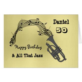 Black Gold Music Themed Happy Birthday Card