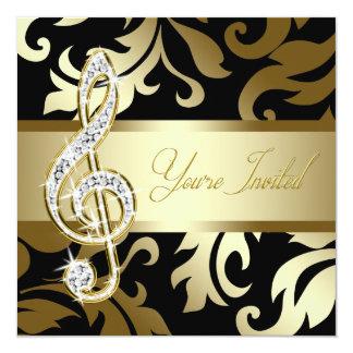Black Gold Music Treble Clef Musical Event 5.25x5.25 Square Paper Invitation Card