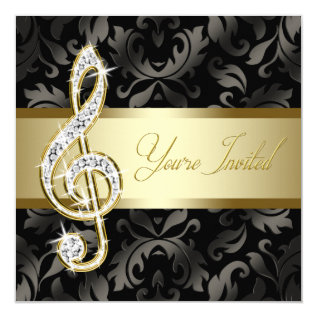 Black Gold Music Treble Clef Recital Card at Zazzle