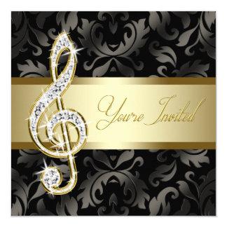 Black Gold Music Treble Clef Recital Invitation