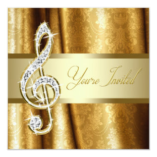 Black Gold Music Treble Clef Recital Invitations at Zazzle