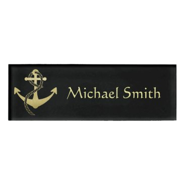 Professional Business Black & Gold Nautical Name Tag
