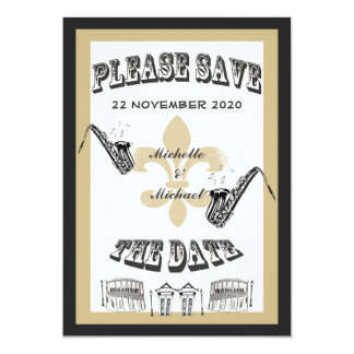 Black Gold New Orleans Jazz Save the Date Card