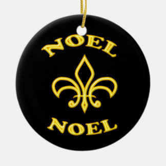 Black Gold Noel Fleur de Lis Ceramic Ornament
