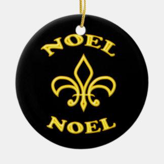 Black Gold Noel Fleur de Lis Double-Sided Ceramic Round Christmas Ornament