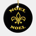Black Gold Noel Fleur de Lis Christmas Tree Ornament