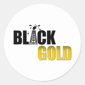 Black Gold Oil Classic Round Sticker