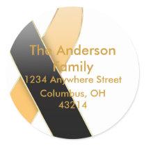 Black & Gold/Orange Ribbon Address Labels