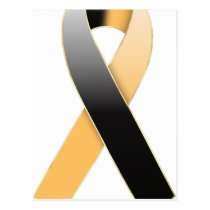 Black & Gold/Orange Ribbon Awareness Postcards