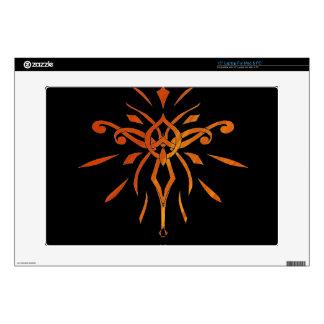 """Black Gold Orange Starburst Dramatic Design Decal For 15"""" Laptop"""