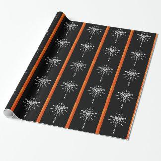 Black Gold Orange Starburst Dramatic Design Gift Wrap