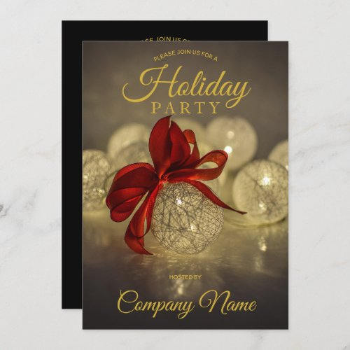 Black Gold Ornament Corporate Holiday Party Invitation