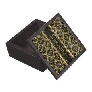 Black & Gold Ornate Baroque Design-Monogram Keepsake Box