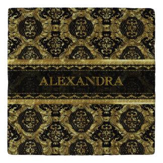 Black & Gold Ornate Baroque Pattern-Monogram Trivet