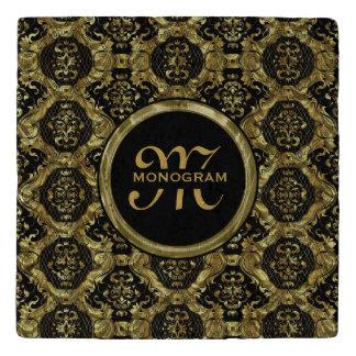 Black & Gold Ornate Baroque Pattern Trivet