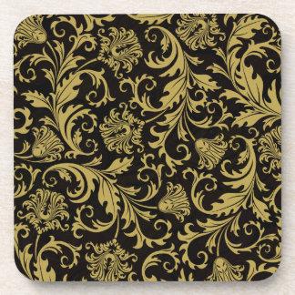 Black & Gold Ornate Floral Damask Design Pattern Beverage Coaster