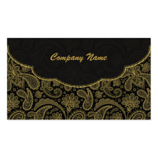 Black & Gold Ornate Paisley Pattern Double-Sided Standard Business Cards (Pack Of 100)