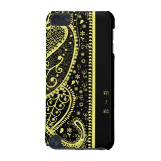 Black & Gold Paisley Monogramed IPod Case iPod Touch 5G Cases