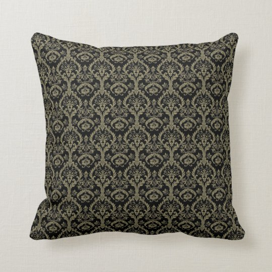 Black Gold Paisley Throw Pillow