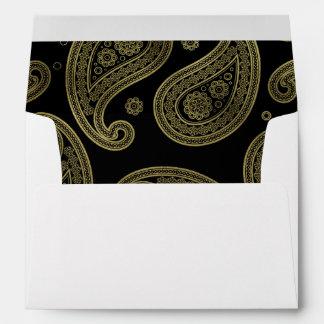 Black & Gold Paisley Wedding Envelope