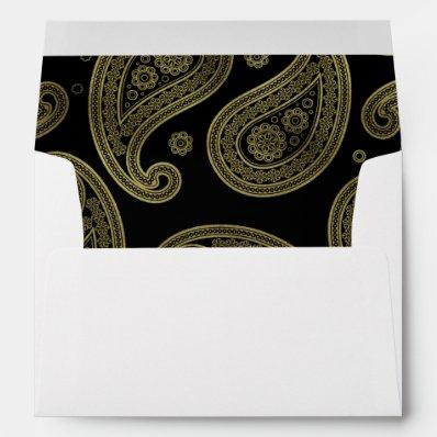 Black & Gold Paisley Wedding Envelopes