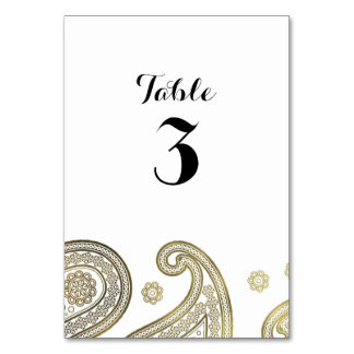 Black & Gold Paisley Wedding Table Card