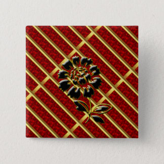 Black Gold Peony on-Ruby Red Square Button